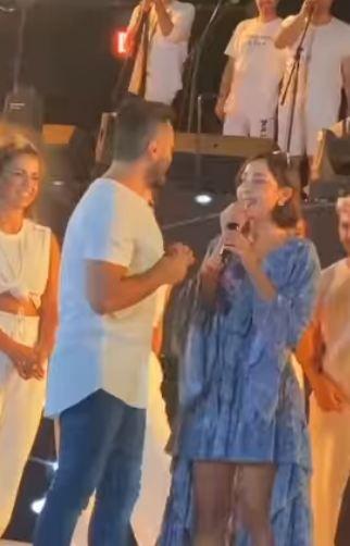 بسمة بوسيل تغني لتامر حسني في عيد ميلاده
