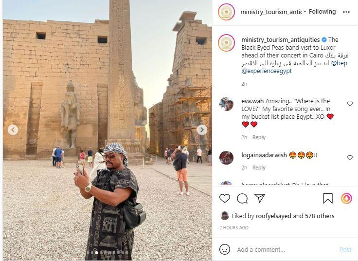 بوست وزارة السياحة عن زيارة فرقة بلاك ايد بيز