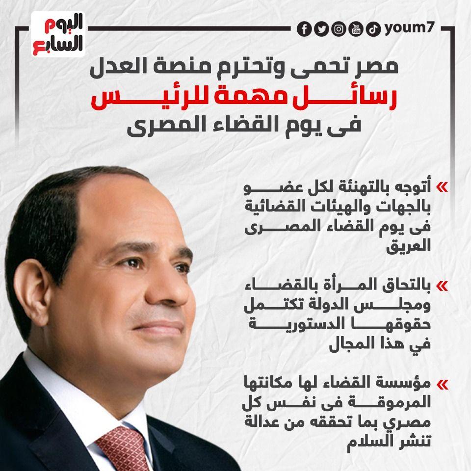 مصر تحمى وتحترم منصة العدل رسائل مهمة للرئيس فى يوم القضاء المصرى