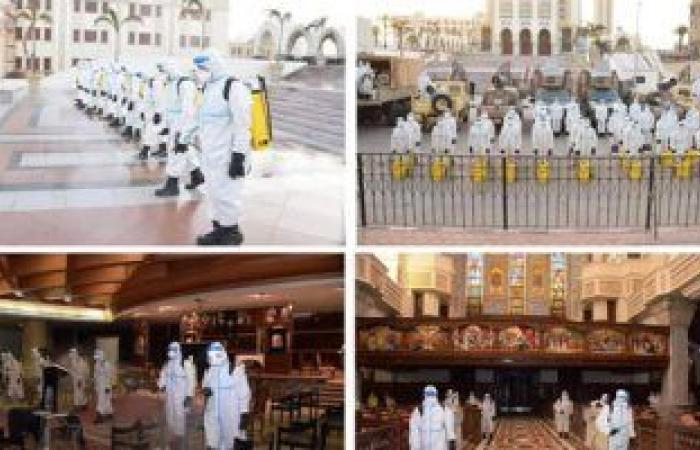 القوات المسلحة تطهر وتعقم عدد من الكنائس بمناسبة عيد القيامة.. فيديو