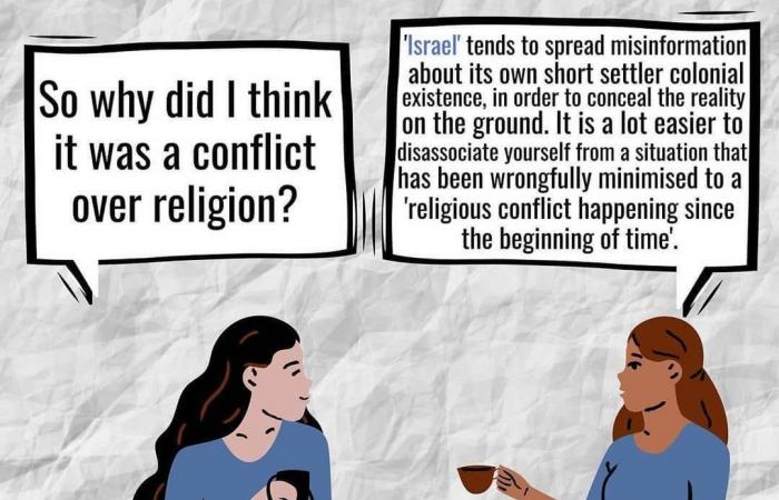 بصور كاريكاتورية.. بيلا حديد تشرح للعالم نضال الشعب الفلسطينى منذ 73 عامًا