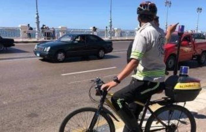 """""""مرور الإسكندرية"""" تفعل خدمة الدراجات الهوائية لحل أزمة زحام السيارات.. صور"""