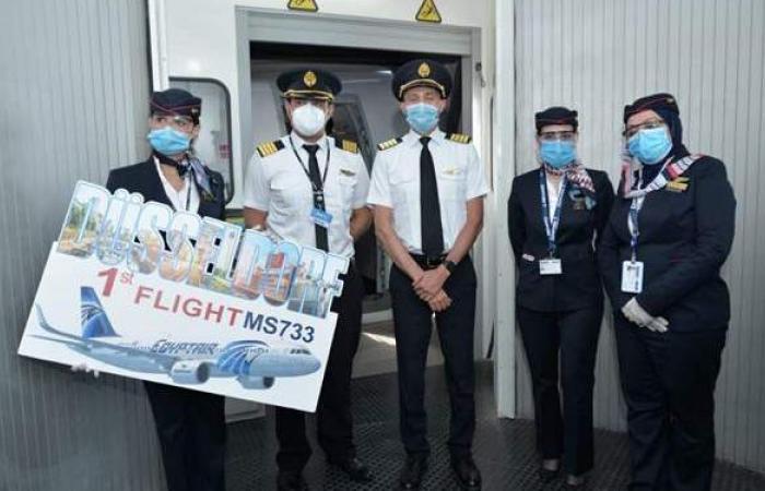 مصر للطيران تسير أولى رحلاتها الجوية إلى دوسلدورف بألمانيا   صور